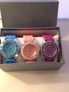 Milano Trio Women's Quartz Watches Blue Pink Purple Lot of 3 Watches New
