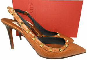 valentino rockstud brown leather 85 slingback pumps heels