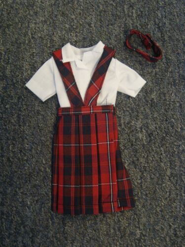 *NIP* 3 pc SCHOOL UNIFORM Dress Jumper Outfit Clothes fits Barbie doll PLAID #65