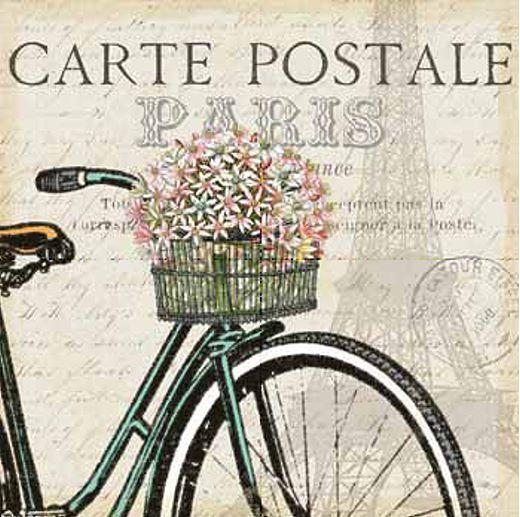 Pela Studio  Paris Ride I Keilrahmen-Bild Leinwand Fahrrad Blaumen Postkarte