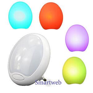 2 x led nachtlampe f r steckdose mit farbwechsel nachtlicht treppenlicht lampe ebay. Black Bedroom Furniture Sets. Home Design Ideas