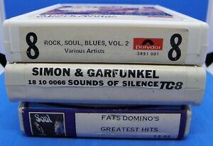 Lot of 3 8track tapes - Simon & Garfunkel, Salem & Rock, Soul, Blues explosion
