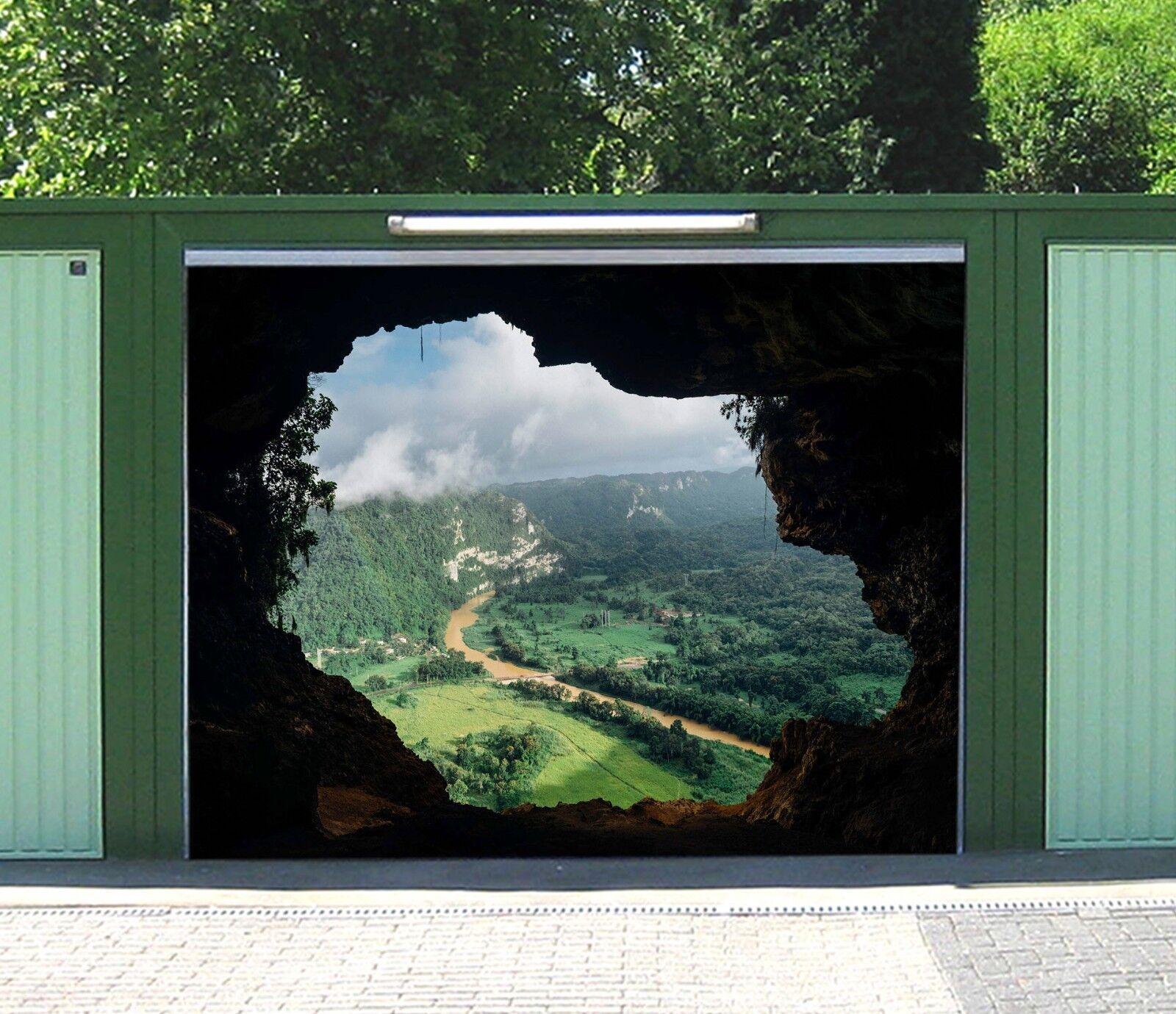 3D Cave Forest Clouds 4 Garage Door Murals Wall Print Wall AJ WALLPAPER UK Lemon