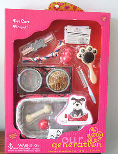 American-Our-Generation-PET-CARE-PLAYSET-Dog-Cat-Food-Bed-Toys-18-034-Girl-Doll-NEW