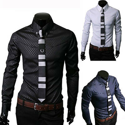 New Fashion Mens Luxury Casual Stylish Slim Fit Long Sleeve Casual Dress Shirt