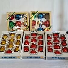 47 Pyramid Holly Glass Christmas Tree Ball Ornaments Red Green Blue Gold Siver