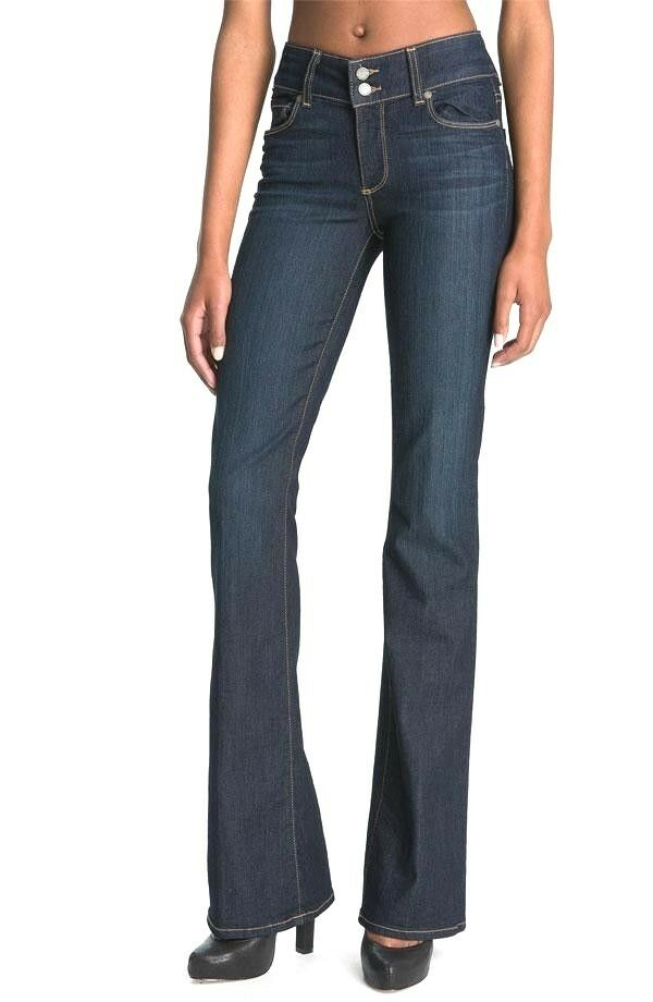 PAIGE HIDDEN HILLS WOMENS BOOTCUT JEANS IN STREAM WASH 25 NEW