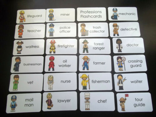 23 Profession Career Flash Cards Educational learning activity for children.