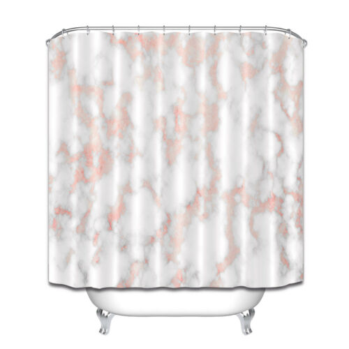 "79/"" Marble With Rose Gold Texture Bathroom Waterproof Shower Curtain /& 12 Hook"