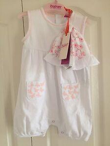 Ted Baker Baby Girls Romper And Hat Set . 9-12 Months. BNWT. Designer