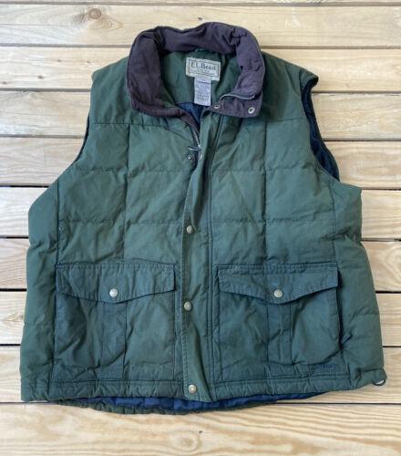 LL Bean Men's Snap Zip up lofty down vest Size L G