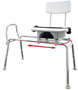 Snap N Save Sliding Shower Chair Bath Transfer Bench W Cut Out Swivel Seat 77663 Ebay