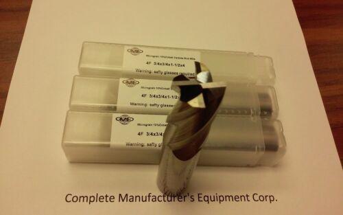 "3pcs 3//4/""x1-1//2x4 Solid Carbide End Mills,4flt s//e,center-cuting #1006-3//4-new"