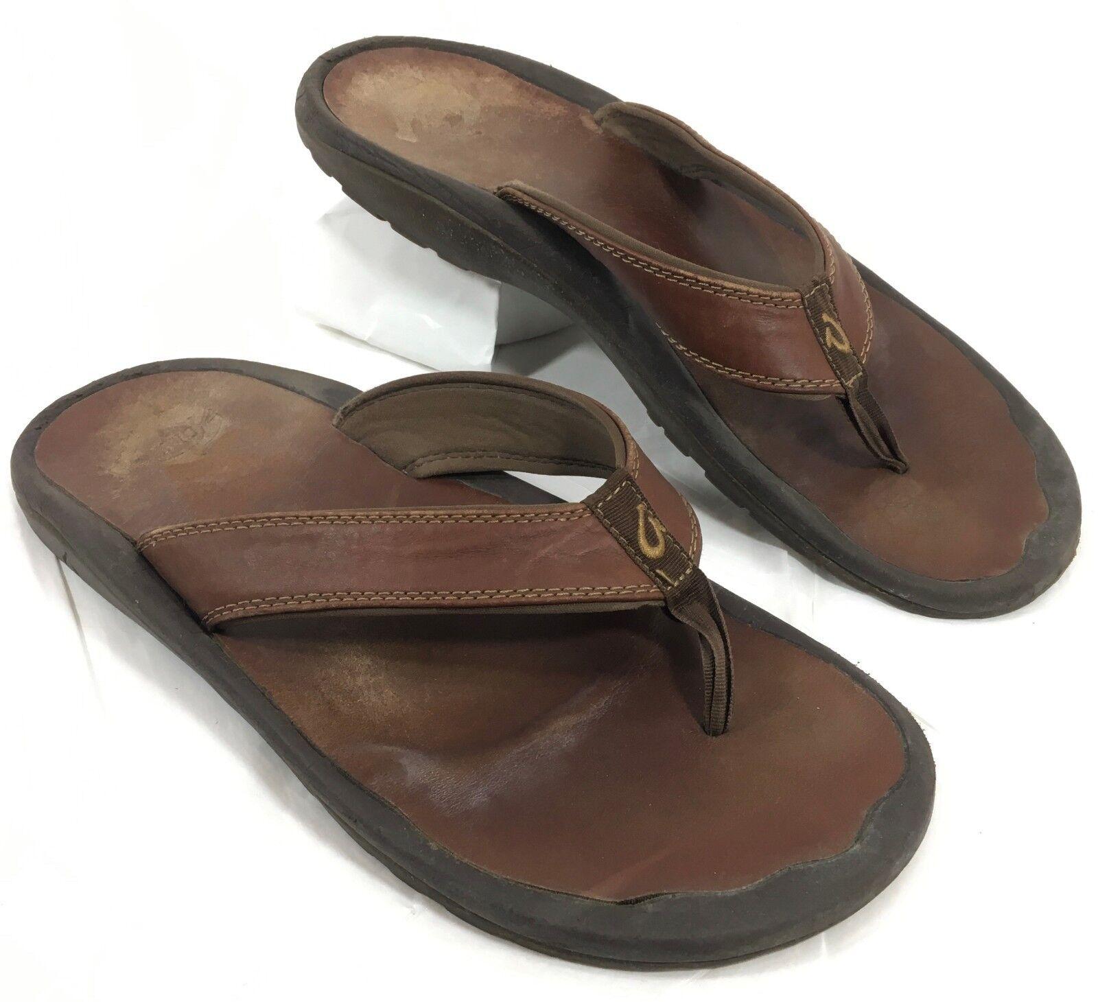 Men's Olukai Flip Flops Sandals Brown leather OHANA Sz 12