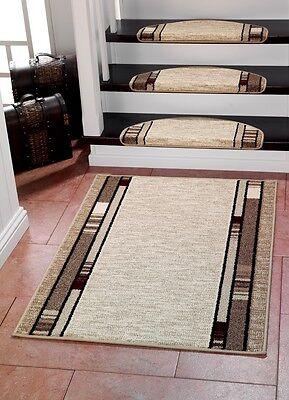 CASA 3617 BEIGE Stufenmatten und/oder passender Teppichläufer Läufer 80cm Breite