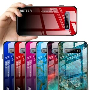 Case-For-Samsung-Note-10-S10-e-S9-Luxury-Marble-Tempered-Glass-Hard-Phone-Cover