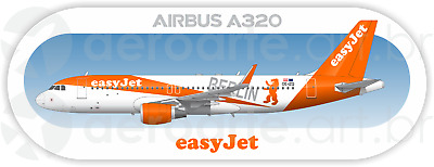 Airbus A320 easyJet aircraft profile sticker