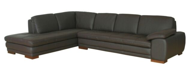 Brilliant Dark Brown Genuine Leather Modern Sofa Sectional Couch Right Left Facing Chaise Theyellowbook Wood Chair Design Ideas Theyellowbookinfo