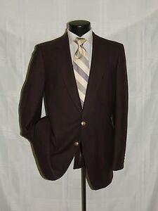 DAKS-LONDON-men-039-s-2-button-center-vent-100-wool-Brown-blazer-jacket-coat-42-L
