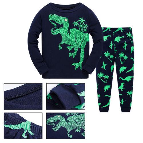Boys Pyjamas Set Dinosaur Print Kids Long Sleeve Cotton Tops+Pants Nightwear New