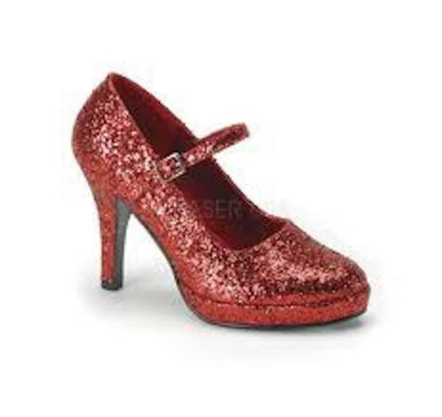 Funtasma SZ 37 Mary Jane Womens Heels Red Glitter Platform Contessa 50G Dorothy