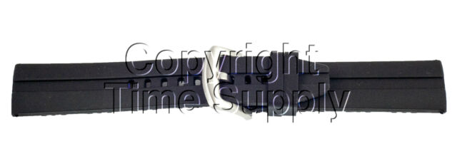 20 MM BLACK SILICON RUBBER WATCH BAND STRAP FOR MILITARY