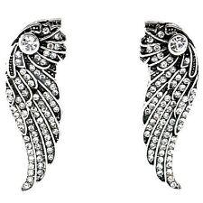 Angel Wings Silver Tone Crystal Big Stud Earrings UK Shop