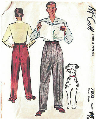 "1940s WW2 Vintage Sewing Pattern W38"" MENS PANTS TROUSERS (1311)"