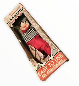Raro-Grund-Marionette-Disney-Mickey-Mouse-en-Caja-Retro-Vintage-1950s-60s-Marioneta-De-Juguete