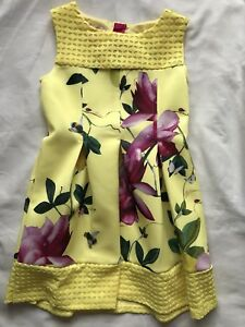 d034d3a759a809 Ted Baker Girls  yellow floral print scuba dress Age 4-5 Years Old ...