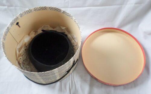 Vintage Midi Pillbox Hat Size 22-1/2 Black Velour