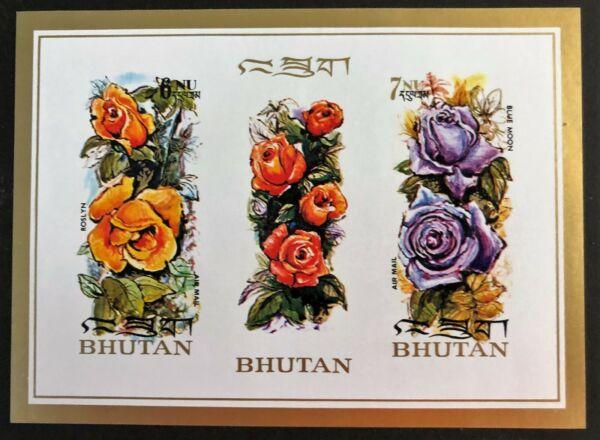 100% Vrai Bhoutan Souvenir Sheet 150 F Rose Airmail Stamps 150d & 150e Neuf Sans Charnière Imperf Sensation Confortable