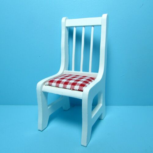 Dollhouse Miniature Kitchen / Dining Room Chair in White with Red Seats T5007