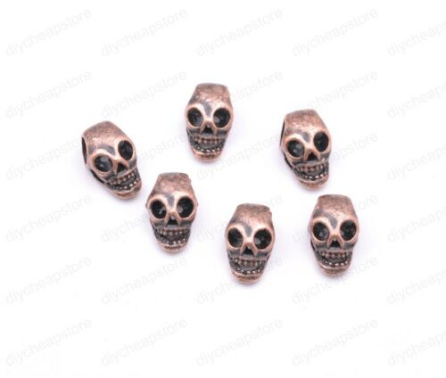 20Pcs Retro Style Tibet Silver Skull Charms Beads Jewelry Findings 13*7mm