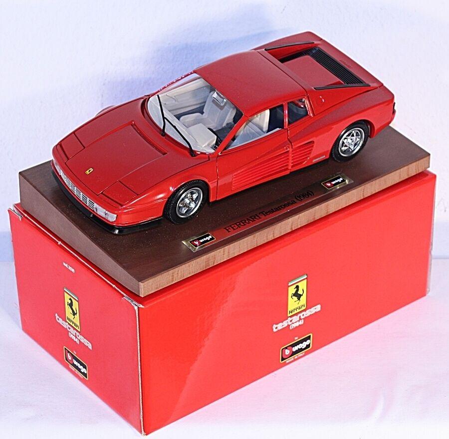 Bburago 3519, Ferrari Testarossa (1984), rot, auf Präsentationsbrett     ab1003b  | Moderne und stilvolle Mode