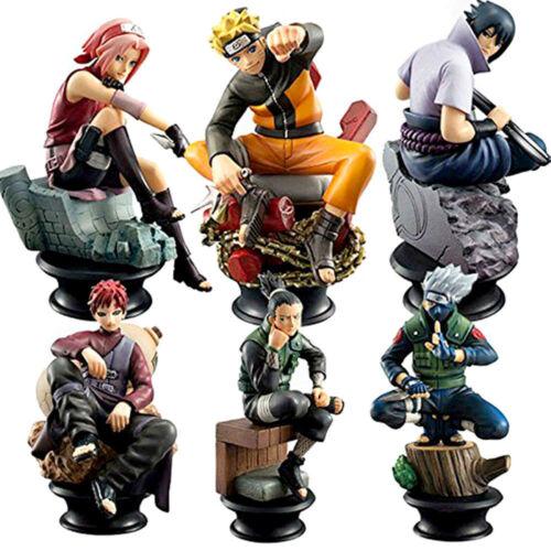 6pcs Naruto//Kakashi//Sasuke//Gaara//Sakura//Shikamaru Figures Anime Cake Toper Toy