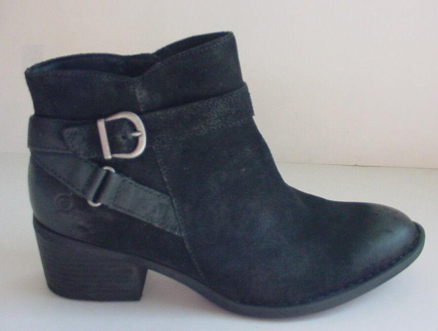 NEW Born Binghamton Suede Ankle Boot Zipper Buckle Blk Distressed Damenschuhe Sz 6 11