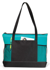 Gemline-Mesh-Water-Bottle-Pocket-Select-Zippered-Main-Compartment-Tote-Bag-1100