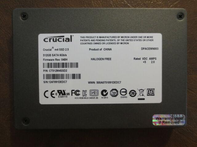 "Crucial CT512M4SSD2 FW Rev:040H 512gb 2.5"" Sata SSD"