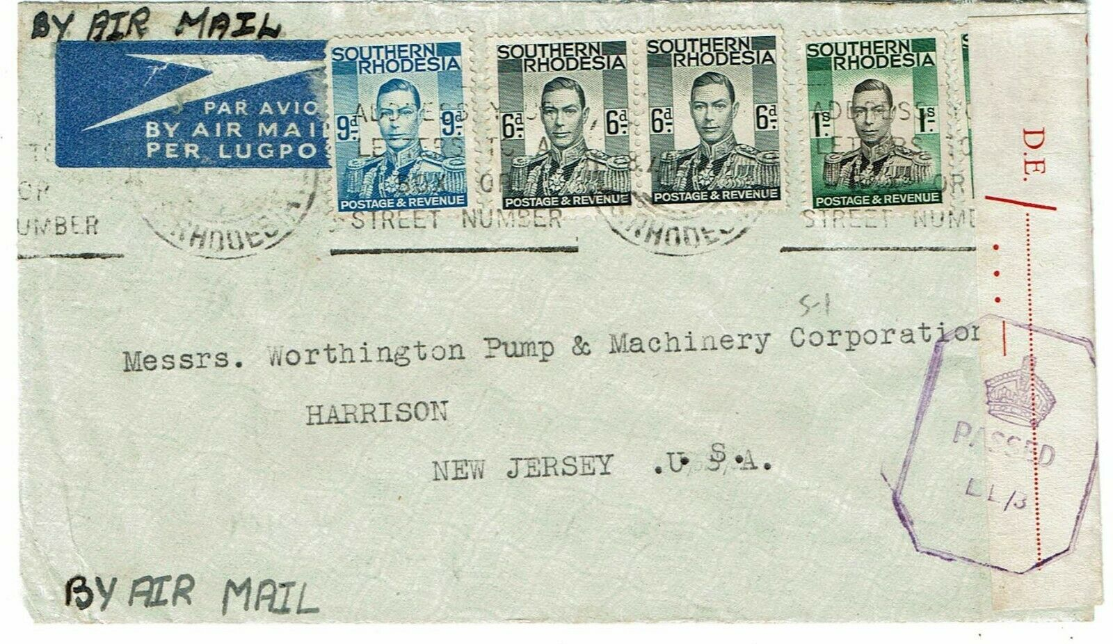 Southern Rhodesia 1944 Bulawayo cancel on airmail cover to the U.S., censored
