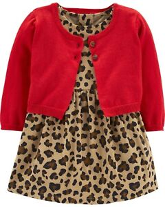 dec50454c New Carter s Girls Holiday Dress Leopard Red Cardigan Christmas NWT ...