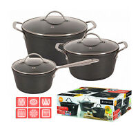 Energy Saving 6 Pc Pot Set Saucepan Cookware Casted Aluminium Non Stick Magnat