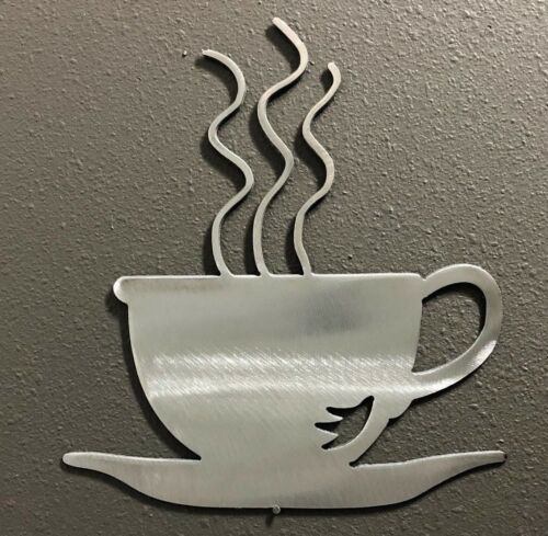 Coffee Cup Aluminum Metal Art Skilwerx 7 x 7 Caffeine 3