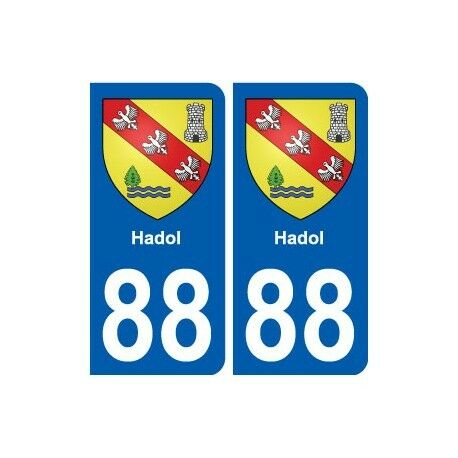 88 Hadol blason autocollant plaque stickers ville arrondis