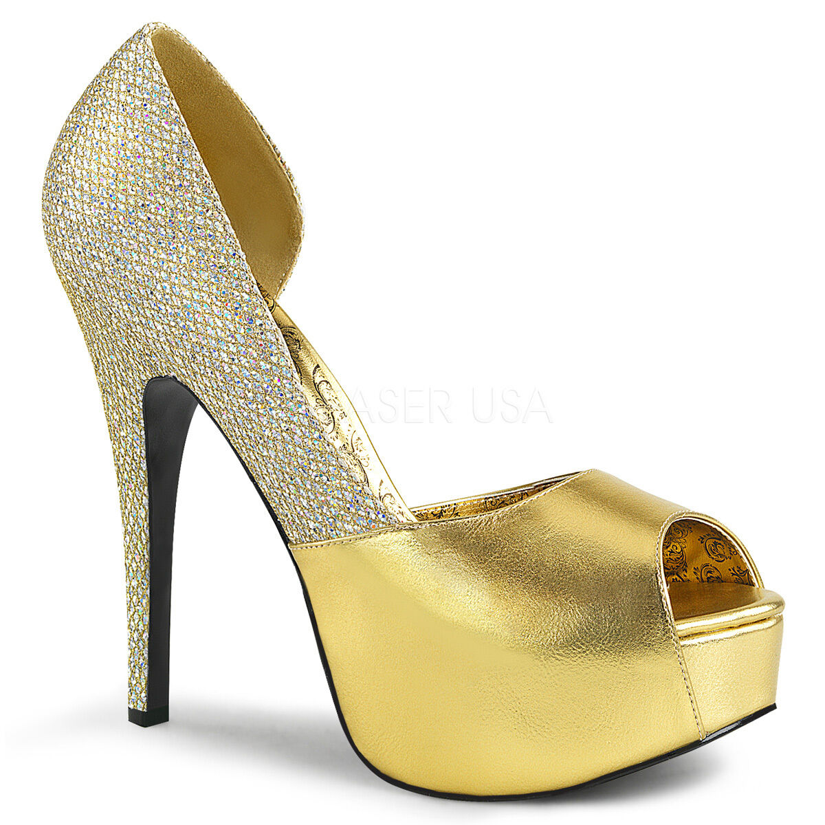 Sexy WIDE WIDTH Hidden Platform 5 3 4  Heel Peep Toe D'Orsay gold Pumps shoes