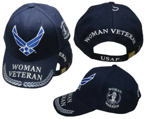 US Air Force Wings Woman Veteran Woman Warrior Navy Blue Embroidered Cap Hat