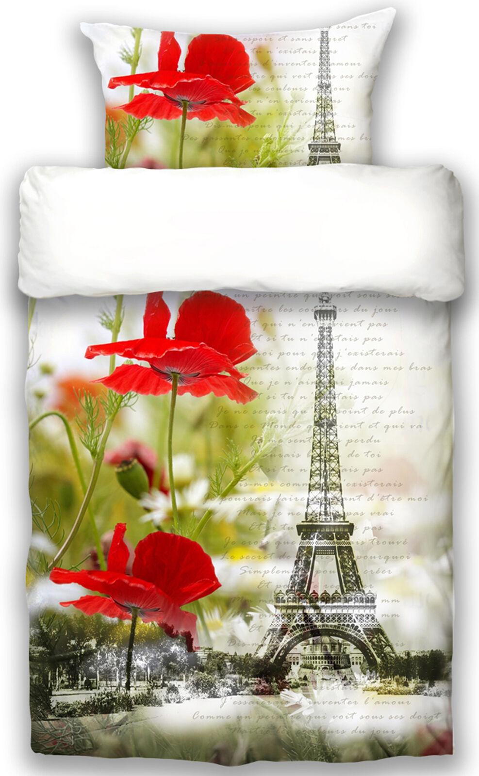 Beties  Je t`aime  Paris Bettwäsche Mako Satin 155x220 cm Weiß Rot