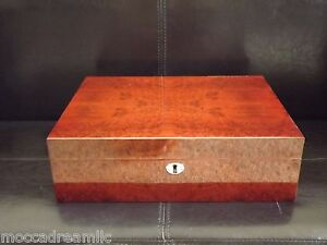 NEW Deluxe Walnut Glossy Humidor - Holds 100 - 120 Count