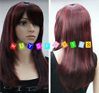 New! Fashion lady's Vogue long red mixed black color wigs + wig cap