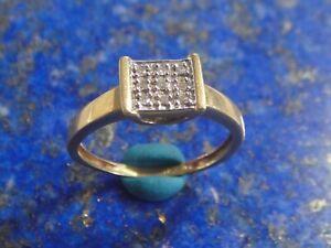 Bague Or Gold 18k 750 pavage 9  diamant 0,05 carat poinçon tête aigle 2,66g T52